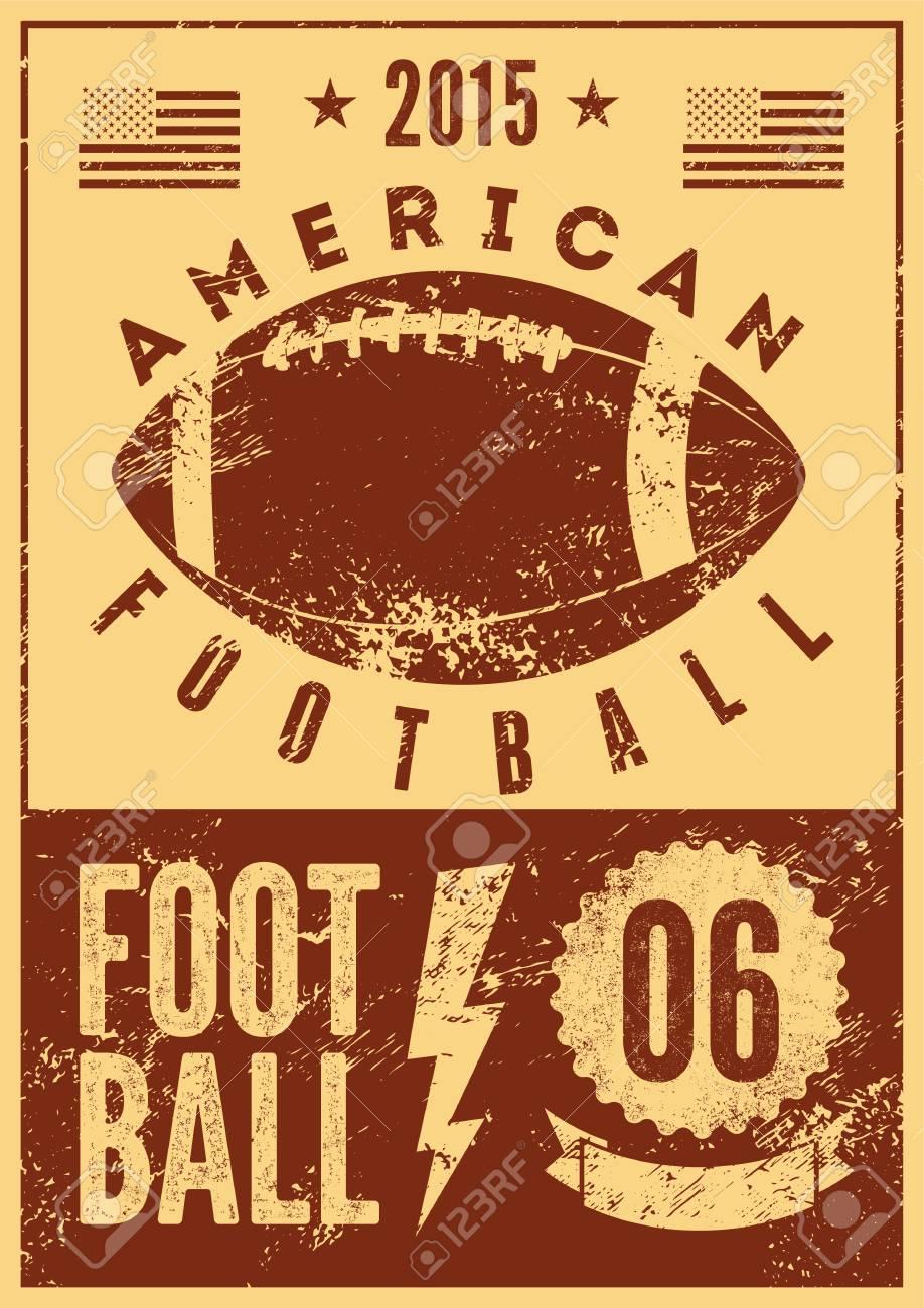 アメリカン フットボール誤植ヴィンテージ グランジ スタイル ポスター