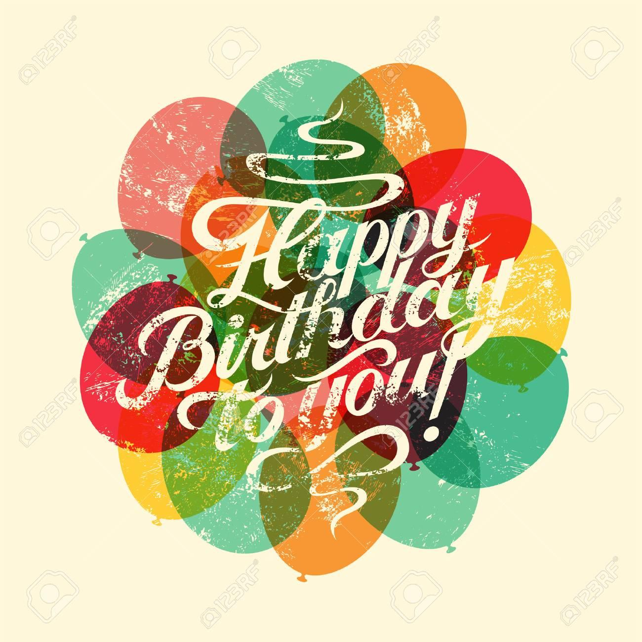 Happy birthday to you typographical retro grunge birthday card happy birthday to you typographical retro grunge birthday card vector illustration stock vector bookmarktalkfo Choice Image