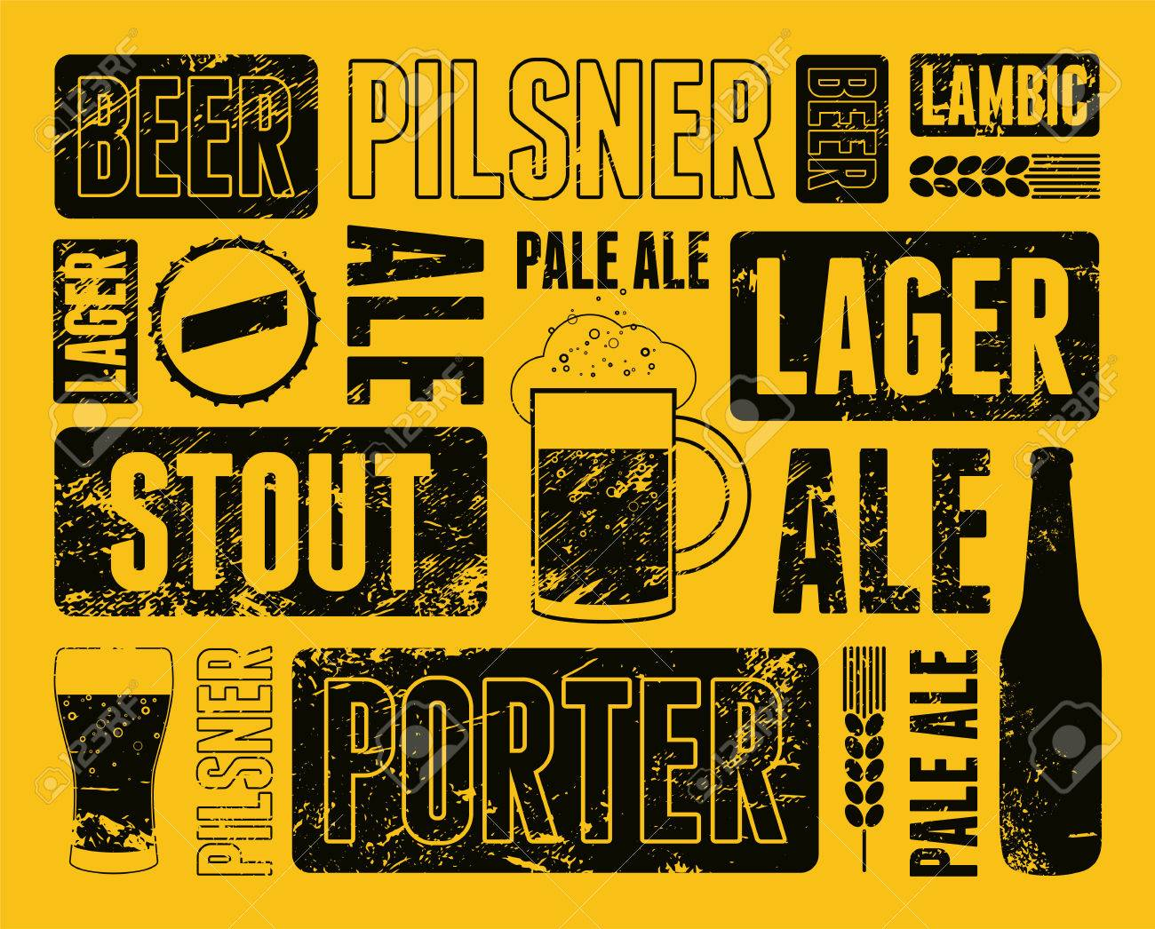 Typographic Retro Grunge Beer Poster Vector Illustration Stock