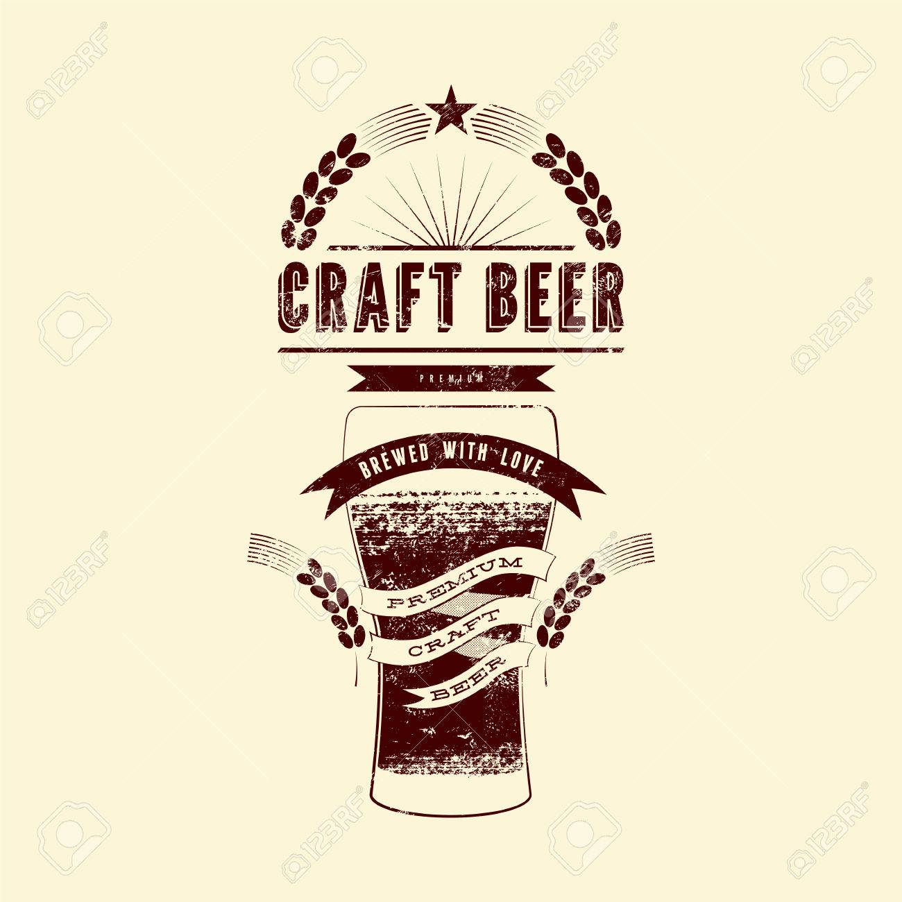 Craft Beer Label Vintage Grunge Style Beer Poster Vector