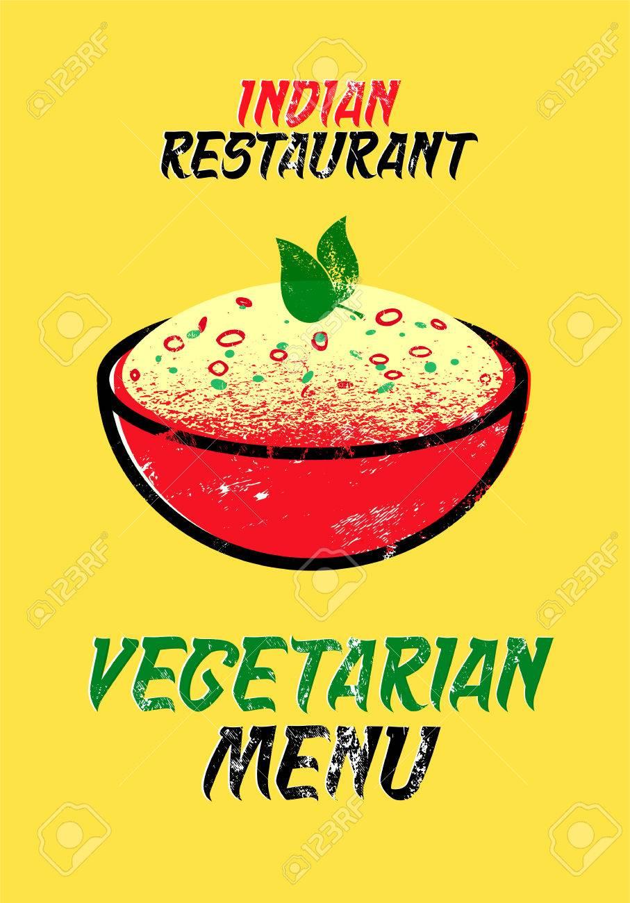 Tarjeta Del Menú Vegetariano Por Un Restaurante Indio. Ilustración ...