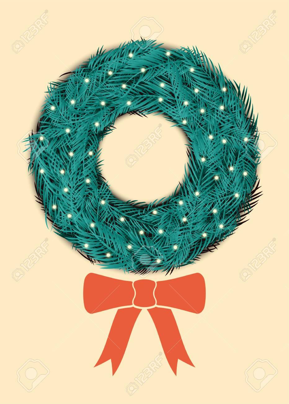 Christmas Greeting Card Design With Christmas Wreath. Retro Vector ...