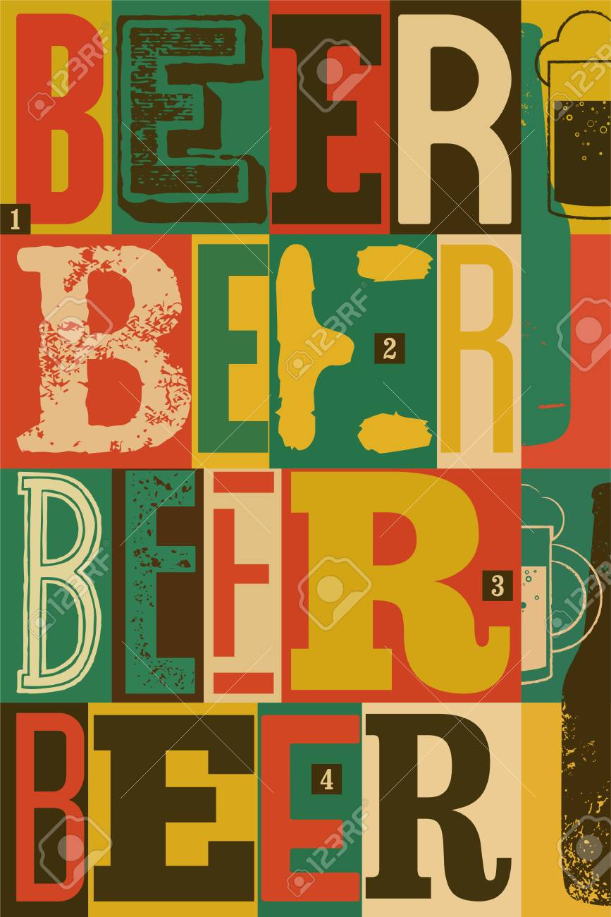 Typographical Vintage Style Beer Poster Design Retro Vector Illustration Stock