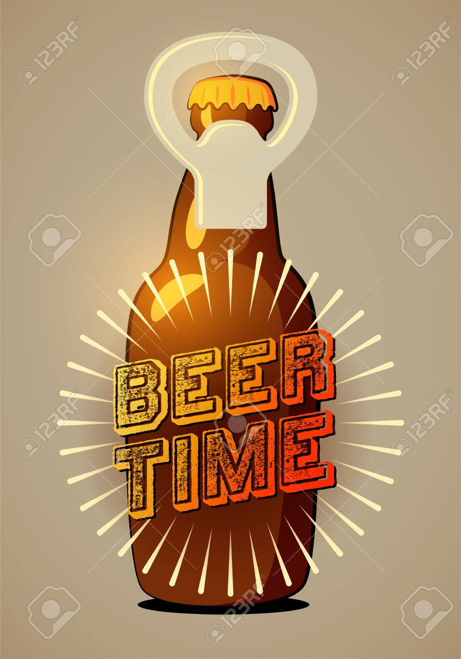 Typographic Retro Beer Poster Vector Illustration Eps10 Stock