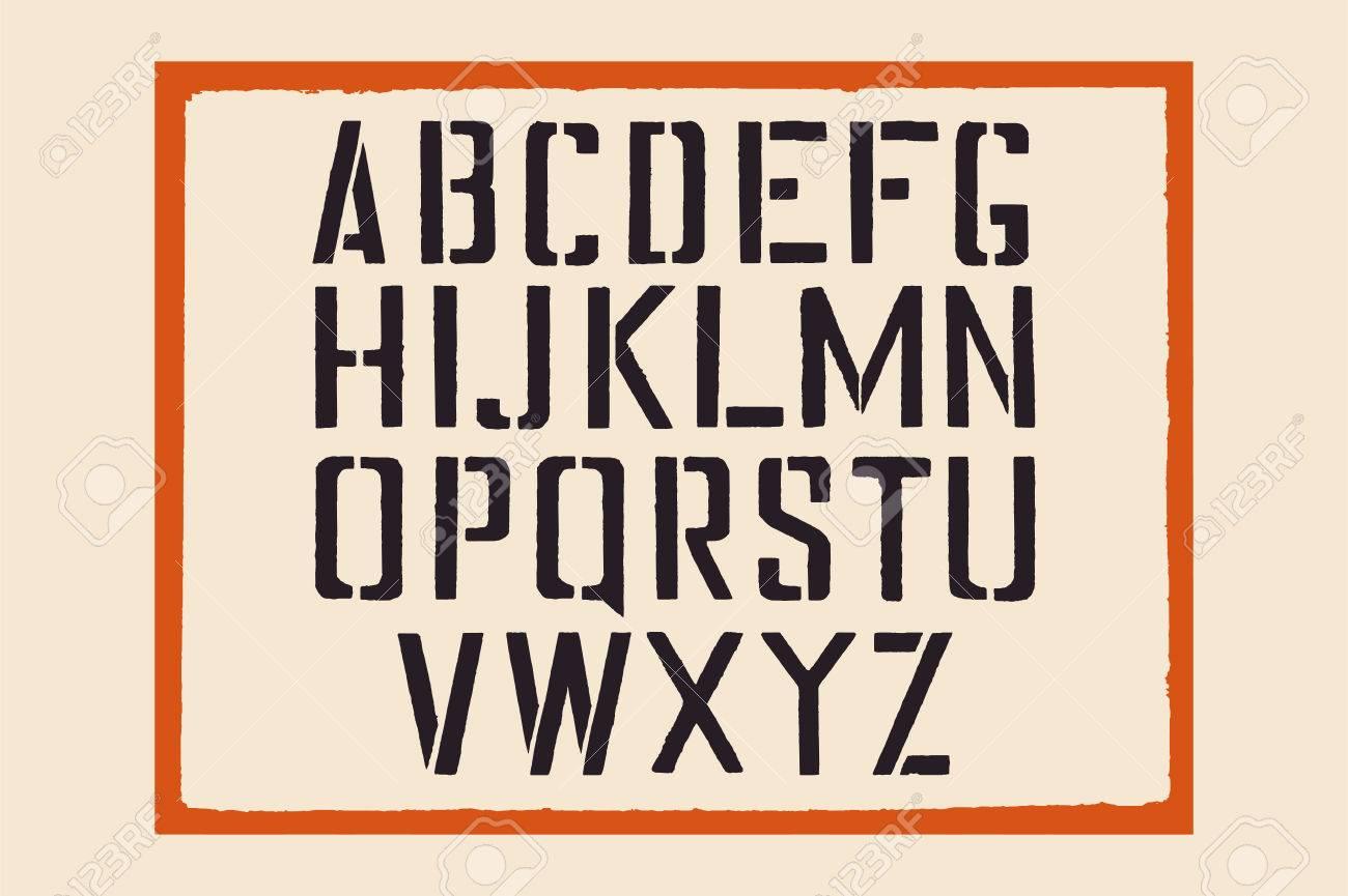 Schablone Englisch Alphabet. Stempeln Sie Buchstaben Mit Einem ...