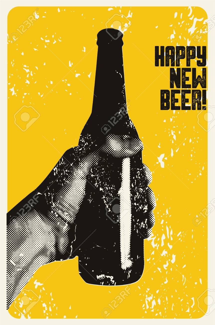 Happy New Beer! Typographic vintage grunge style Christmas card or poster design. The hand holds a bottle of beer. Retro vector illustration. - 87206443