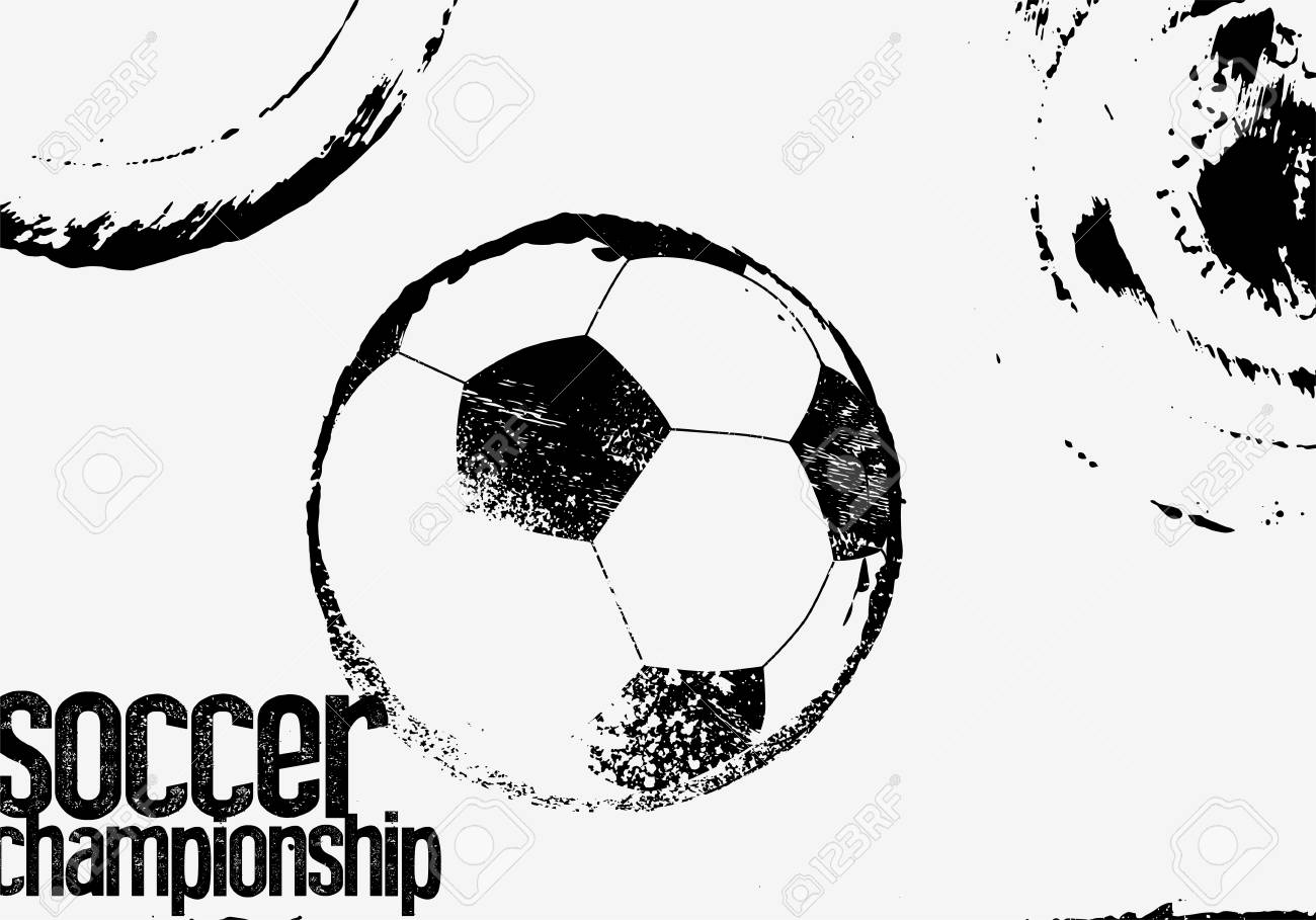 Soccer black and white typographical vintage grunge style poster retro vector illustration stock vector