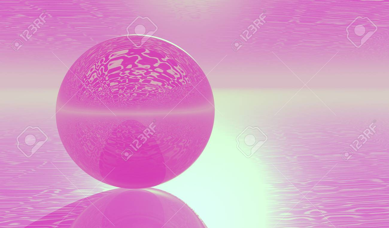 Violet Glass Sphere on clouds  plane Stock Photo - 6574976
