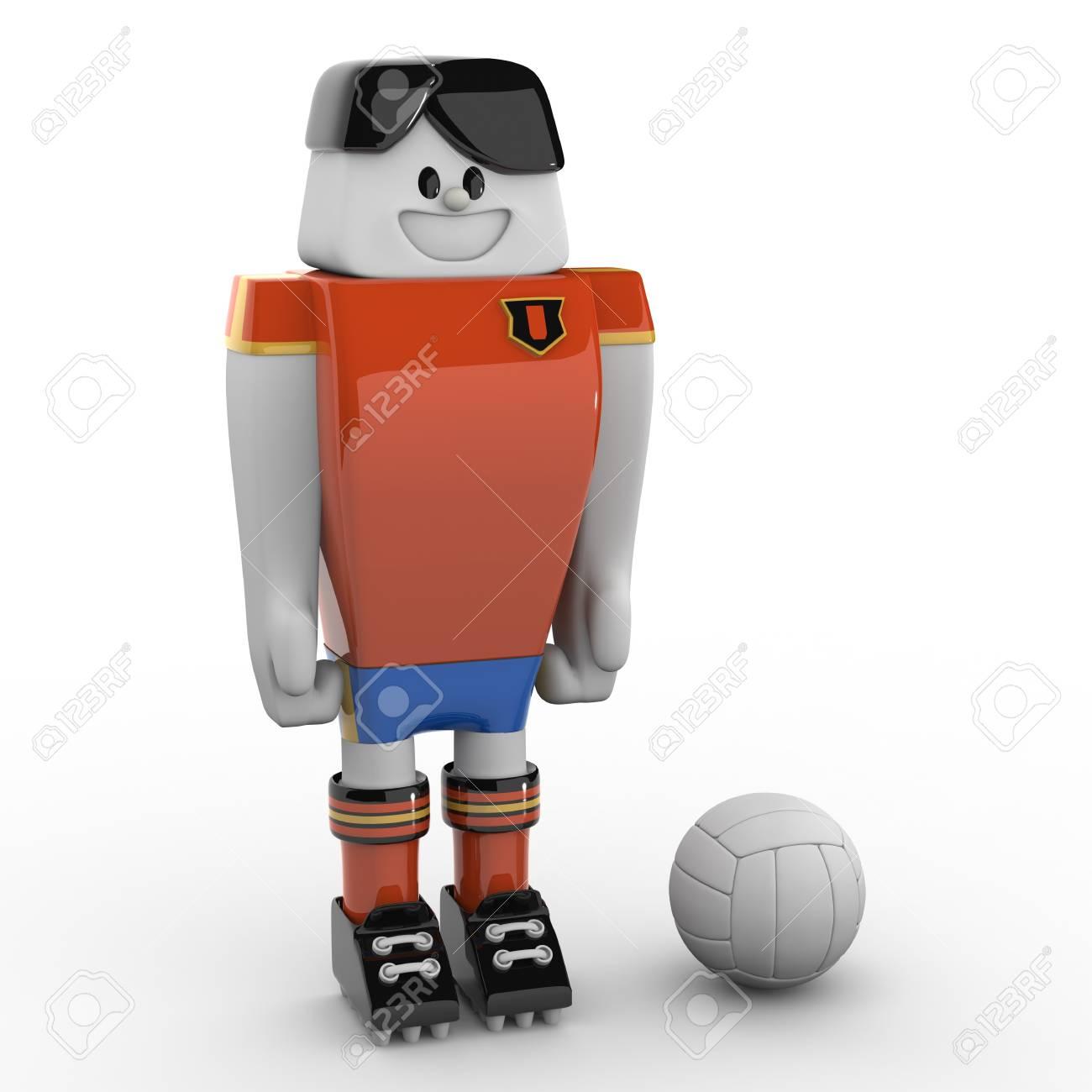 3D Soccer Player - Team Spain Stock Photo - 7033802