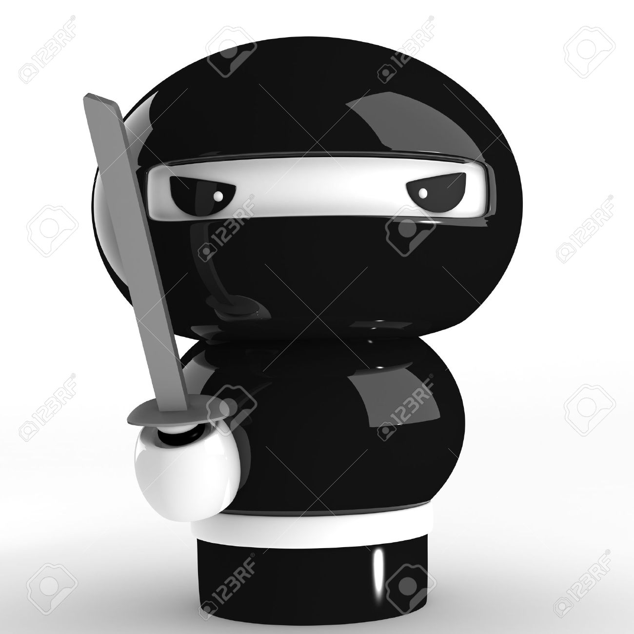 3D Japanese ninja with katana Angry Girl Cartoon Japanese