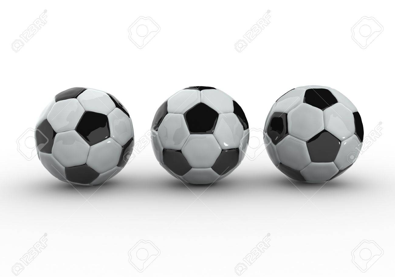 3D image of three soccer ball on white background Stock Photo - 7847180
