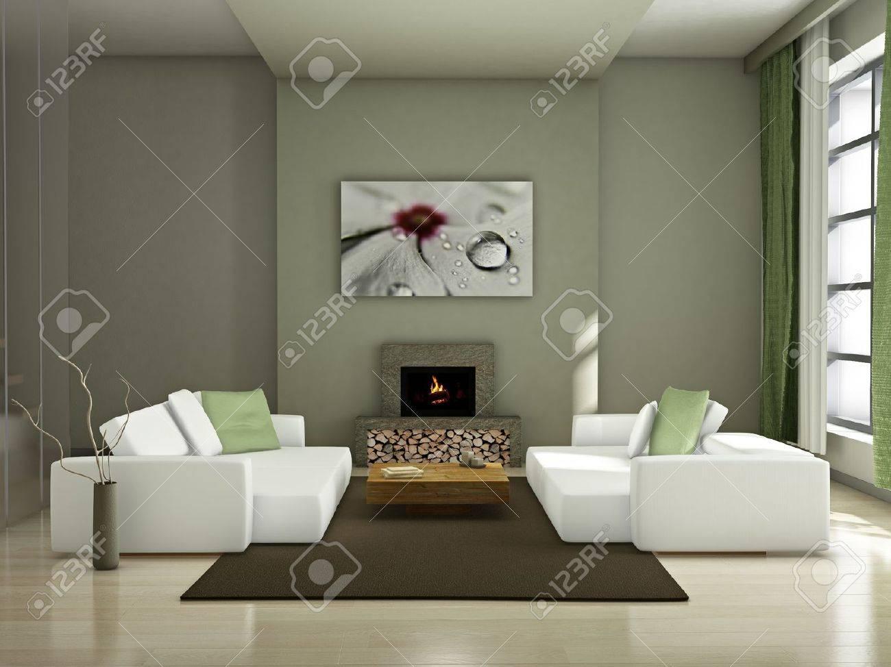 Modern interior (3D render) - Living room Stock Photo - 8920157