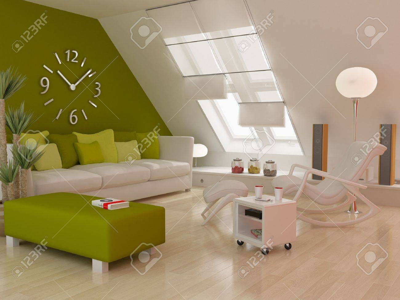 Modern interior (3D Render) - Living Room Stock Photo - 10348337