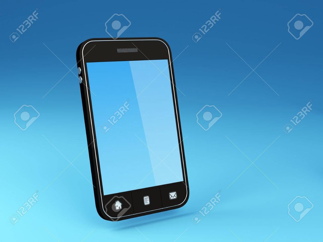 3D Illustration of generic smartphone Note  All Devices design and all screen interface graphics in this series are designed by the contributor him self Stock Photo - 13045889