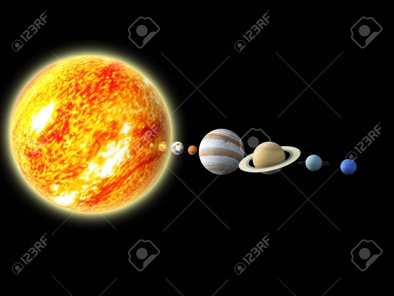 Illustration Of Our Solar System - 3D REnder Maps From Http.. Stock ...