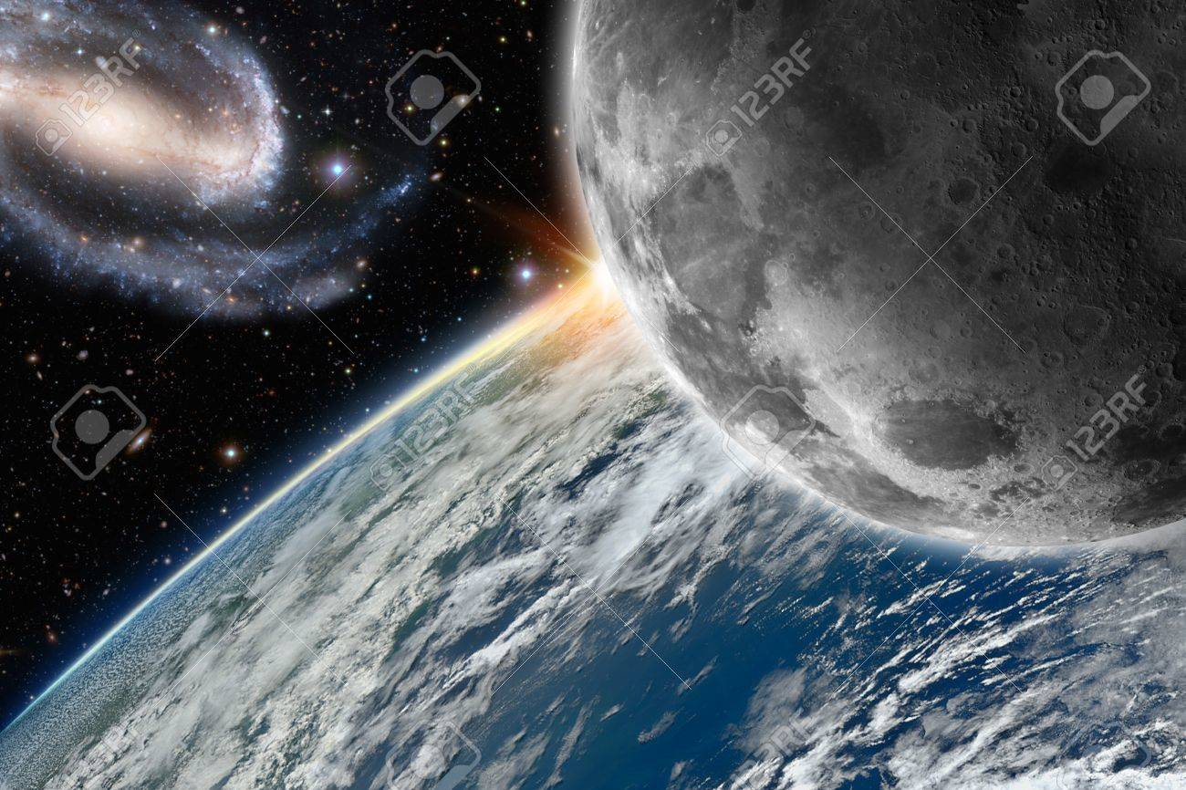 Illustration of the planet earth and its moon Stock Illustration - 15770349