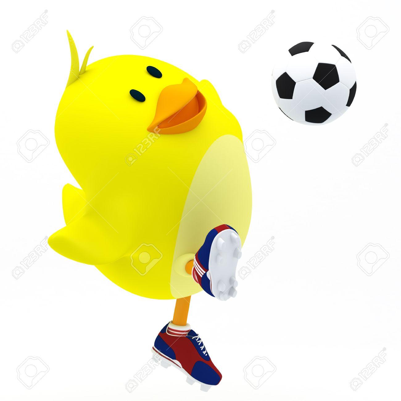 Little soccer player chick on white - 3D render Stock Photo - 16052828