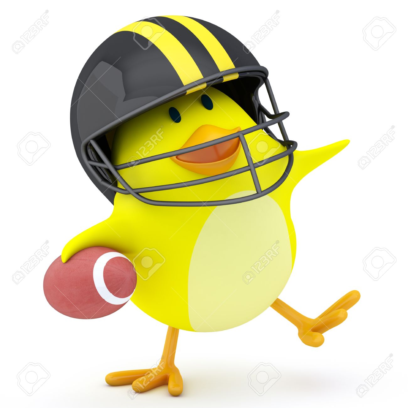 Little american football player chick on white - 3D render Stock Photo - 16256302