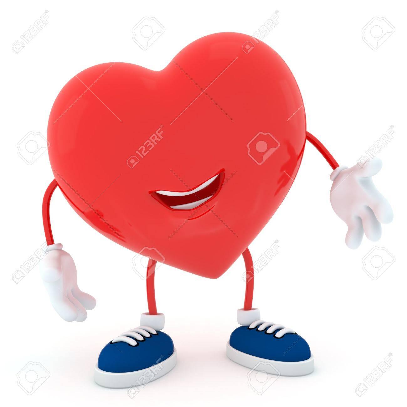 Smily heart on white background - 3D render Stock Photo - 16945317