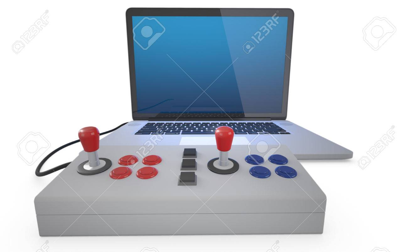 Arcade joystick connected to laptop pc isolated on white background