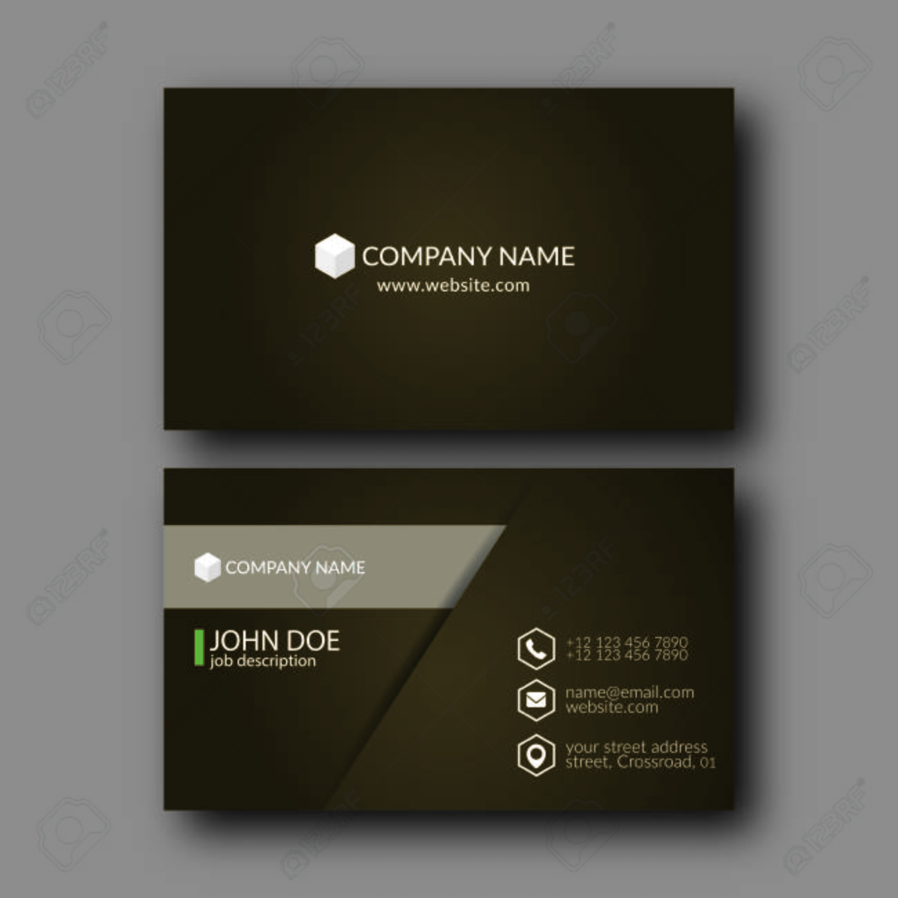 Vector Illustration Abstract Elegant Business Card Template. Royalty ...
