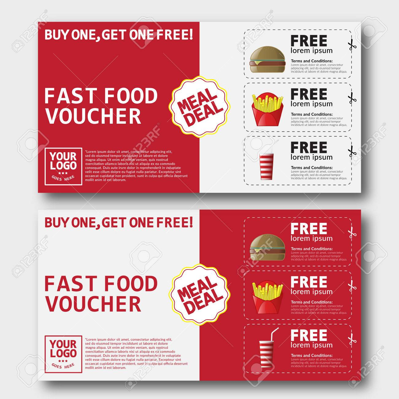 Lunch Voucher Template Software User Guide Template 67763121 Fast Food  Voucher Template With Hamburger Fries And  Lunch Voucher Template