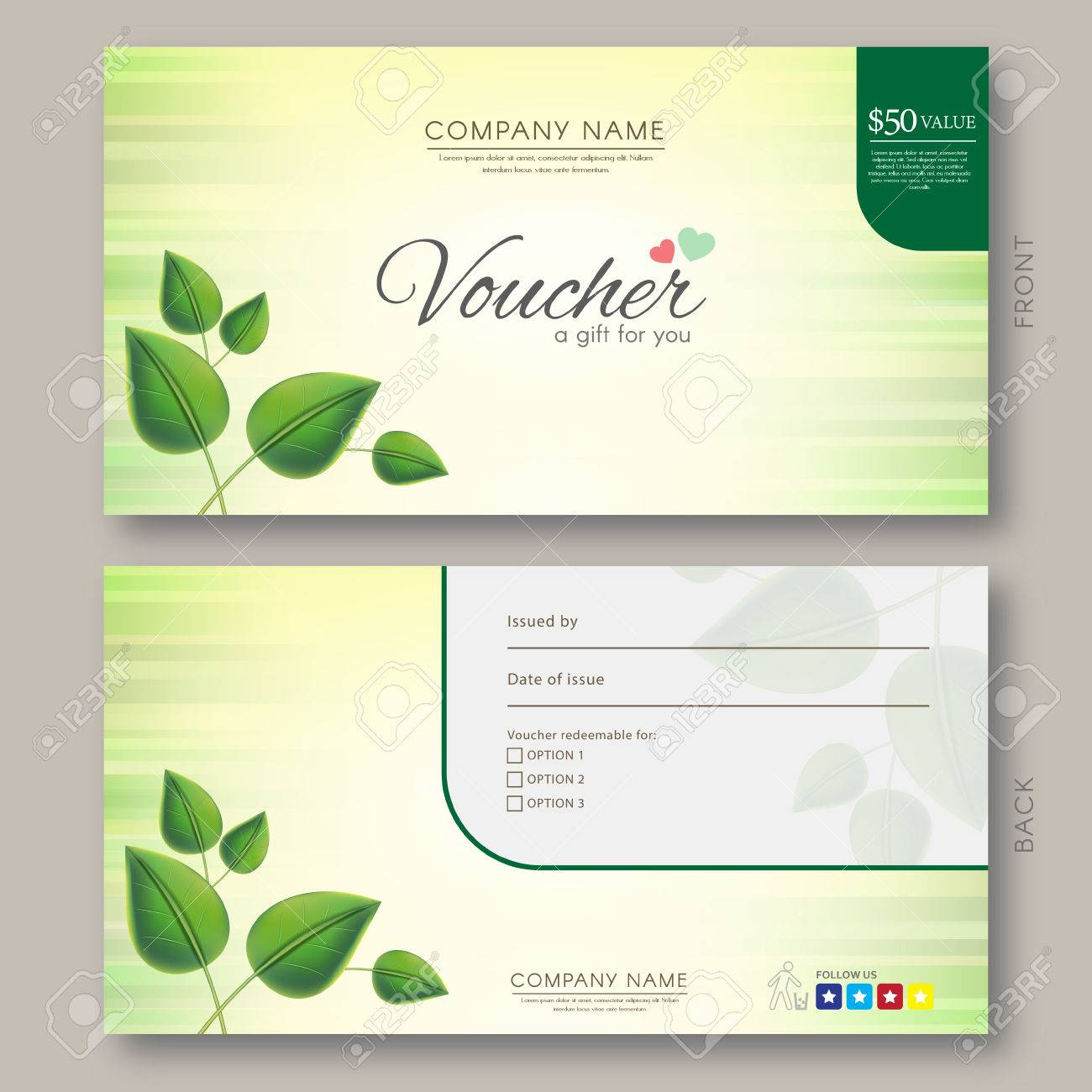 Elegant Gift Voucher Template With Green Natural Floral Theme ...