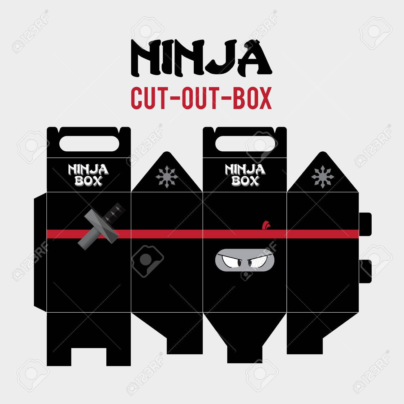 ninja cut out box vector template royalty free cliparts vectors