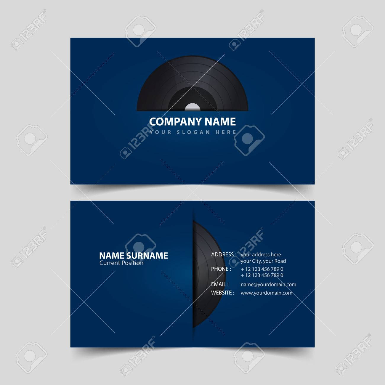 vinyl record business card design template royalty free cliparts