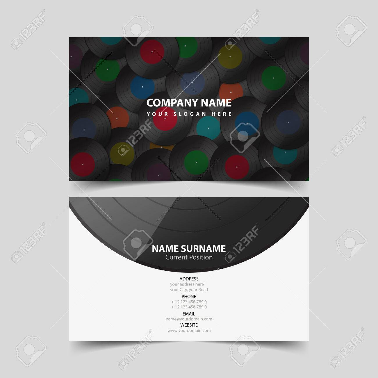Vinyl Record Business Card Design Template. Royalty Free Cliparts ...