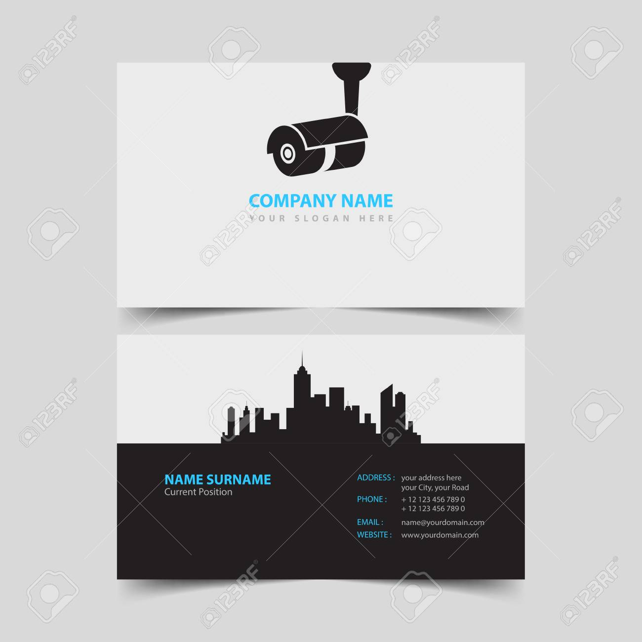 Security Video Surveillance Company Business Card Design Template ...