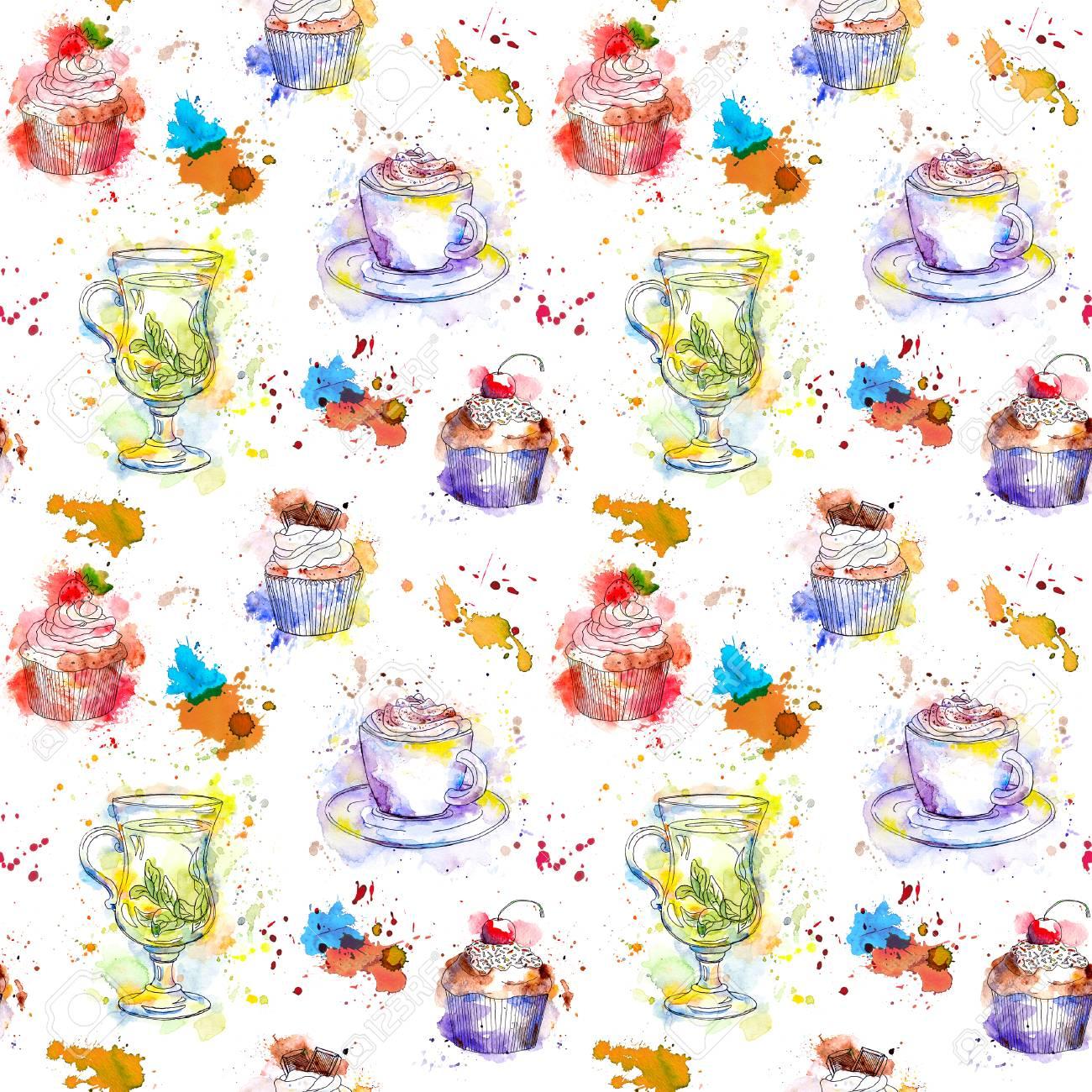 Teatime Wiederholenden Muster Kuchen Kuchen Tee Kaffeetasse
