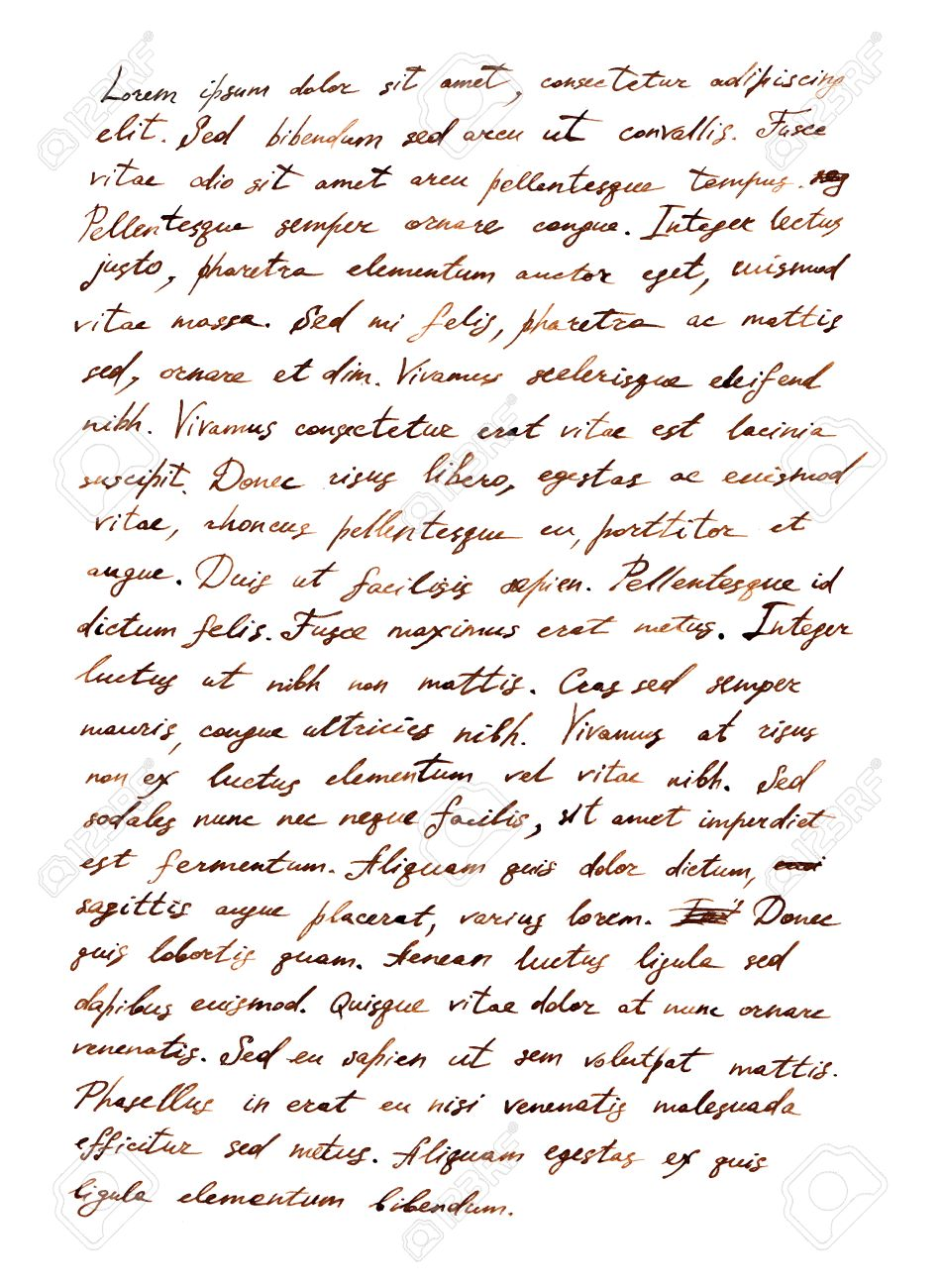 Hand Writing Letter   Latin Bible Text Lorem Ipsum Stock Photo