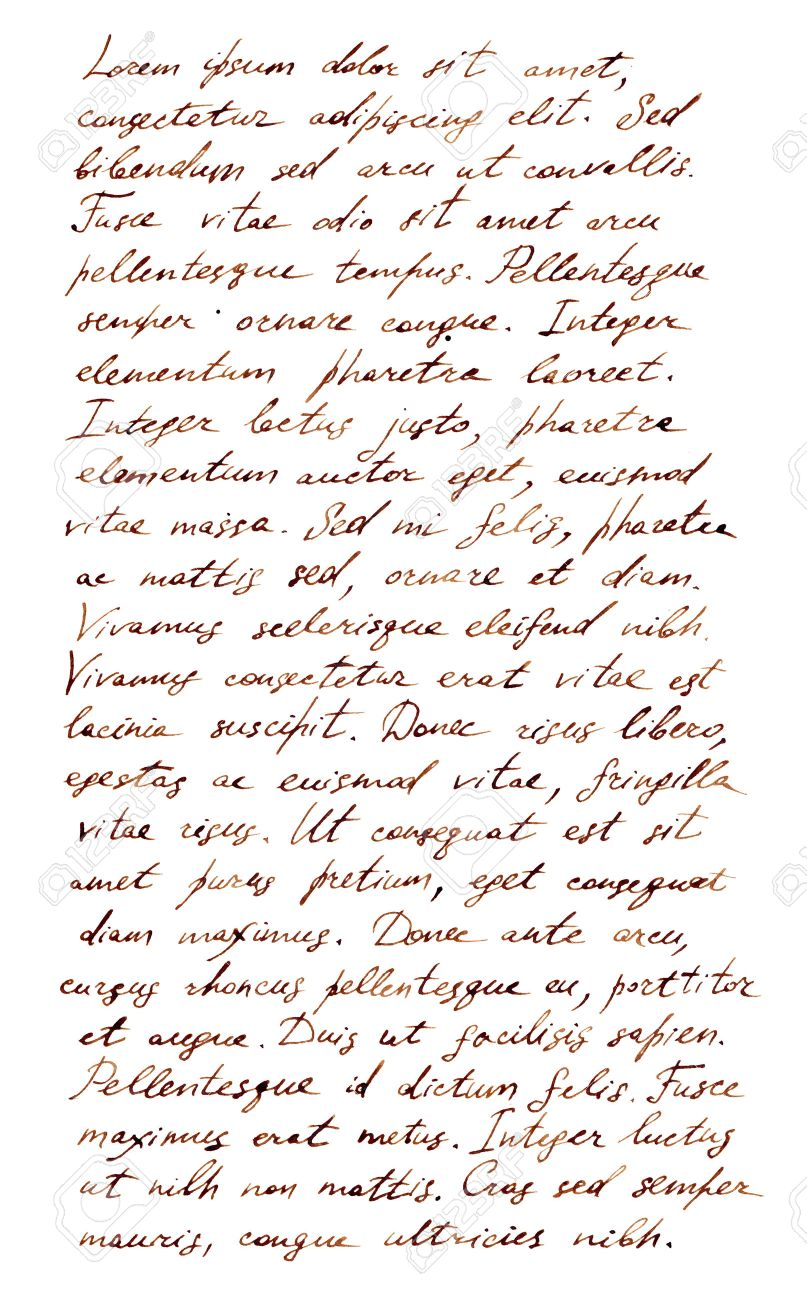 Hand Written Letter   Latin Text Lorem Ipsum Stock Photo, Picture
