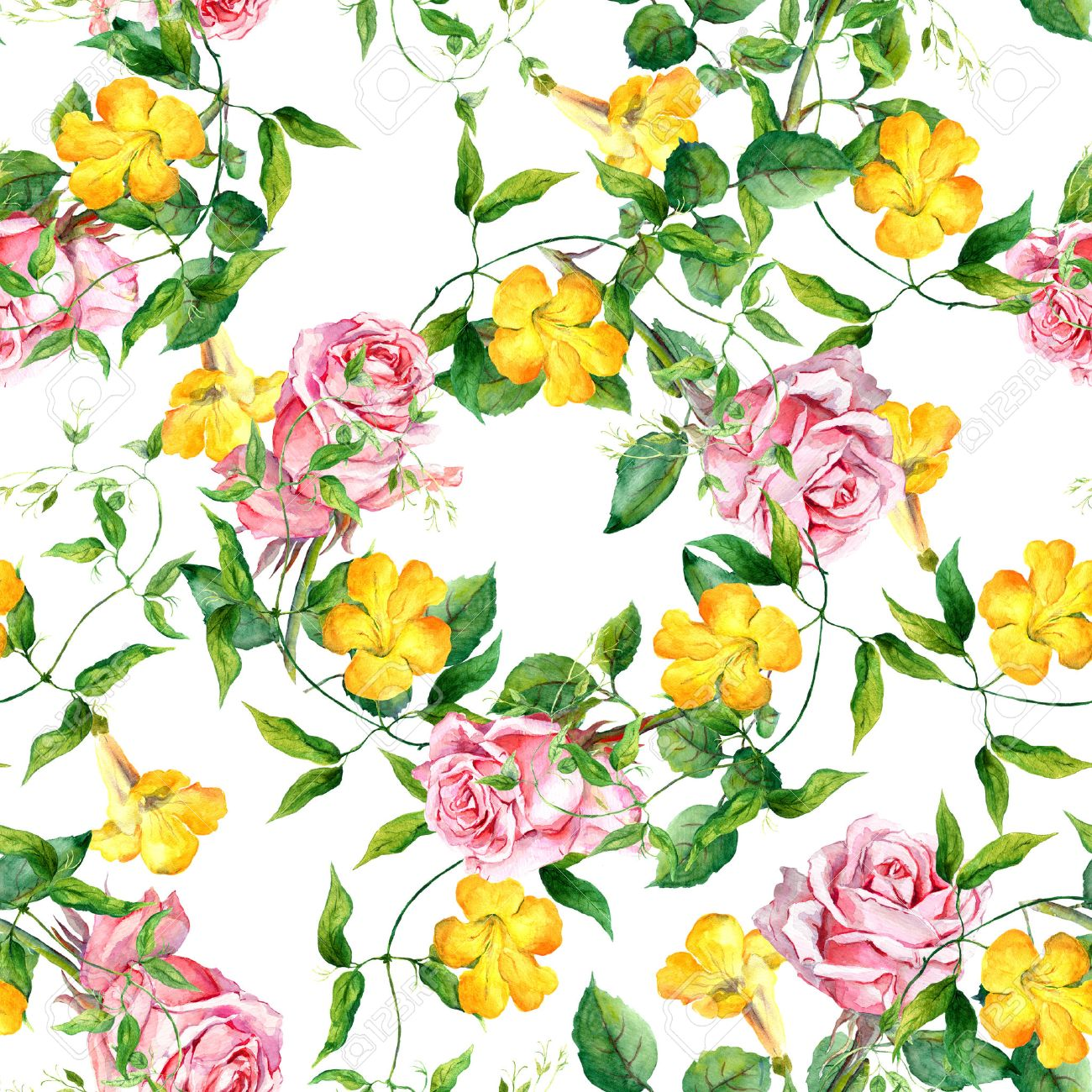 Yellow flower bindweed. Repeating floral pattern. Watercolour background - 45474203