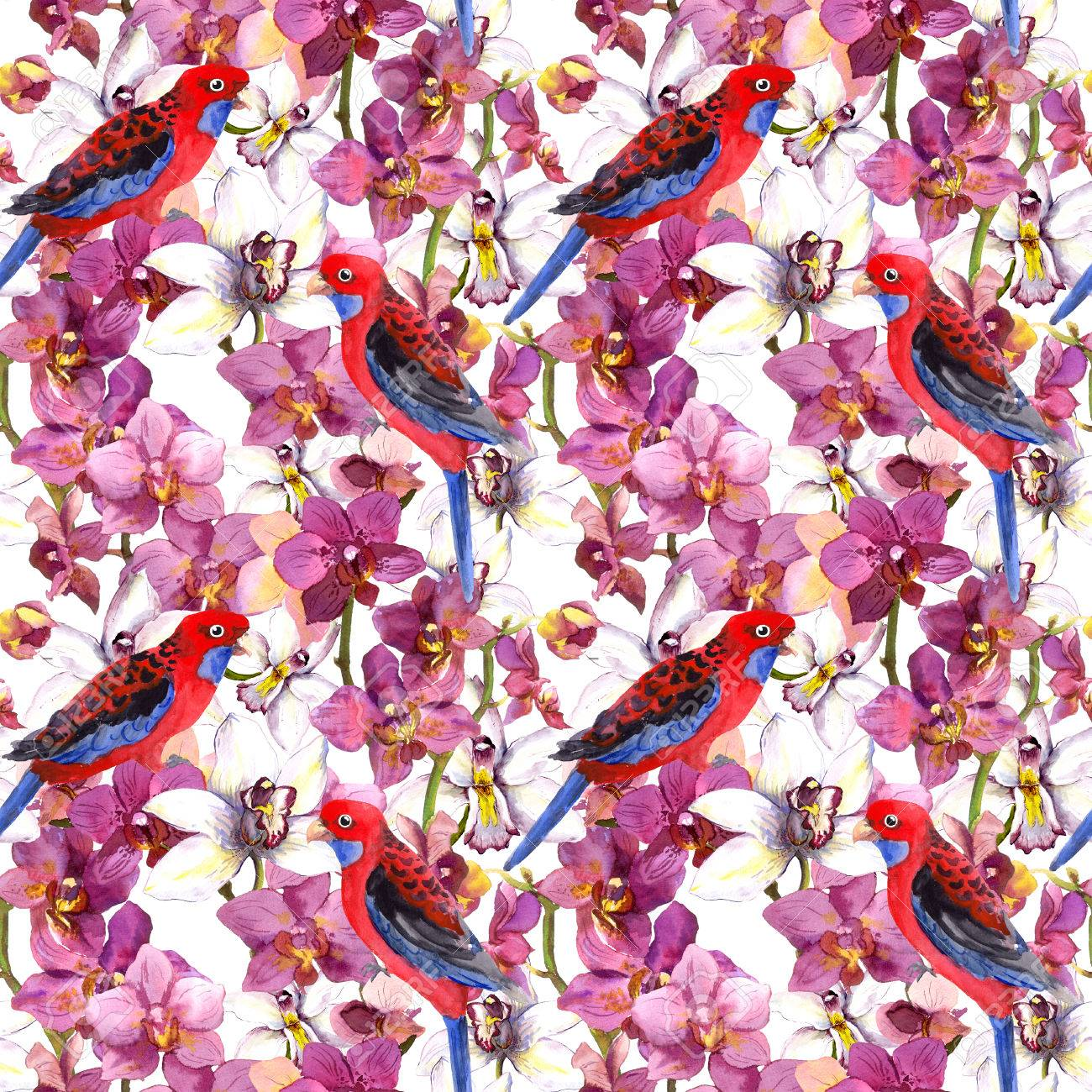 Exotic Floral Repeating Pattern Parrot Bird Blooming Orchid