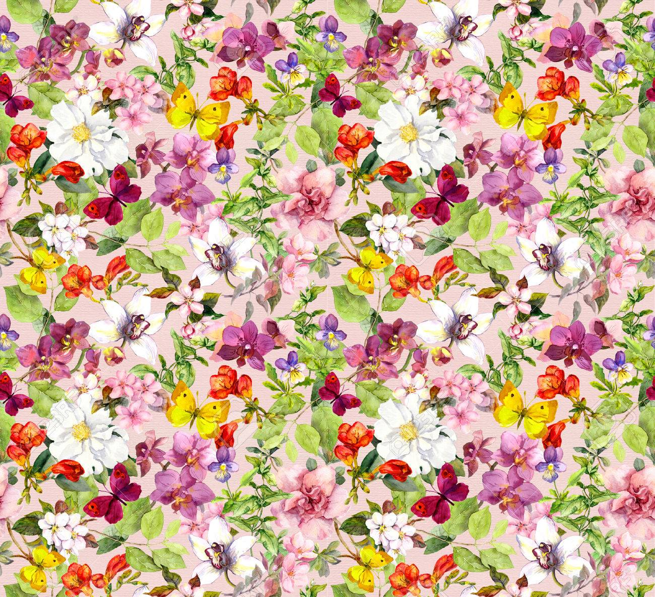 Bright Flowers And Butterflies Colorful Garden Floral Wallpaper Watercolour Stock Photo Picture And Royalty Free Image Image 45666896