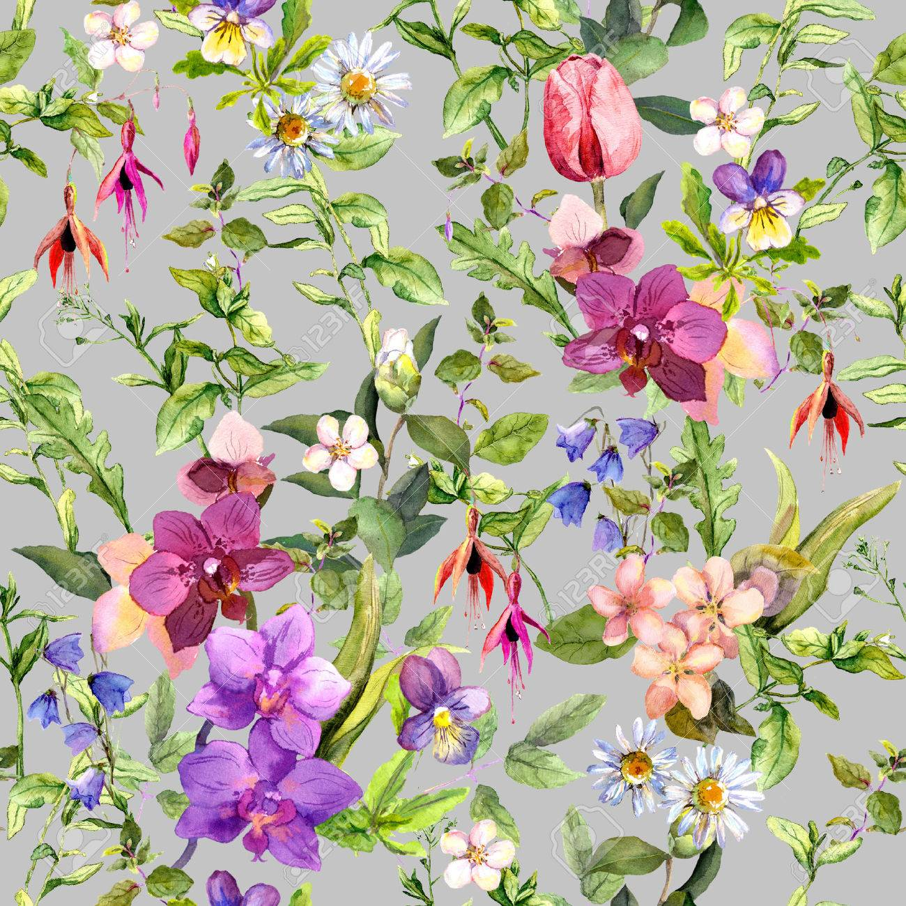 Ditsy Flowers And Wild Herbs   Summer Garden. Vintage Seamless Floral And  Herbal Pattern.