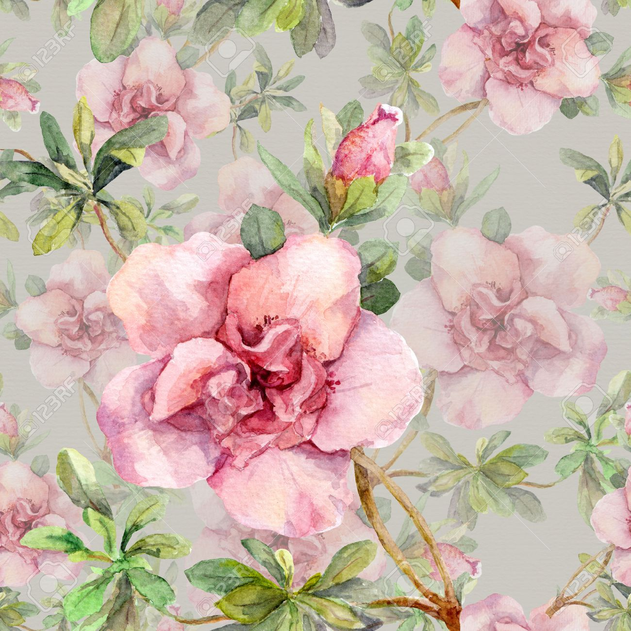 Blooming pink flowers seamless vintage floral pattern watercolor blooming pink flowers seamless vintage floral pattern watercolor retro design and natural background stock mightylinksfo