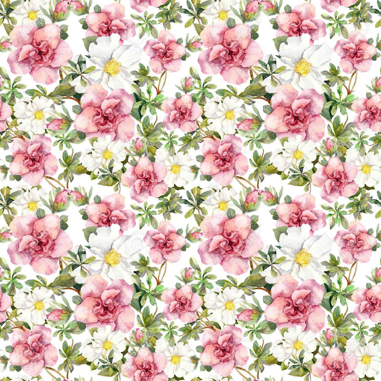 Blooming Pink Flowers Seamless Vintage Floral Pattern Watercolor