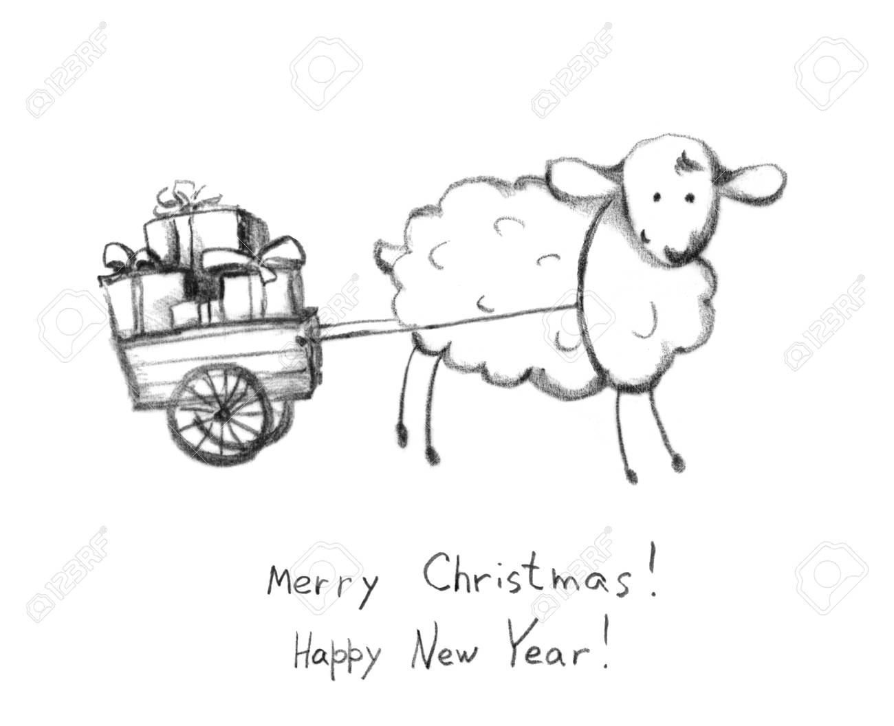 Christmas sheep and sledge with gift box pencil painted sketch xmas greeting card stock