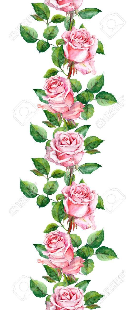 Repetition Motif Floral Rose Fleurs Rose Aquarelle Banque D Images