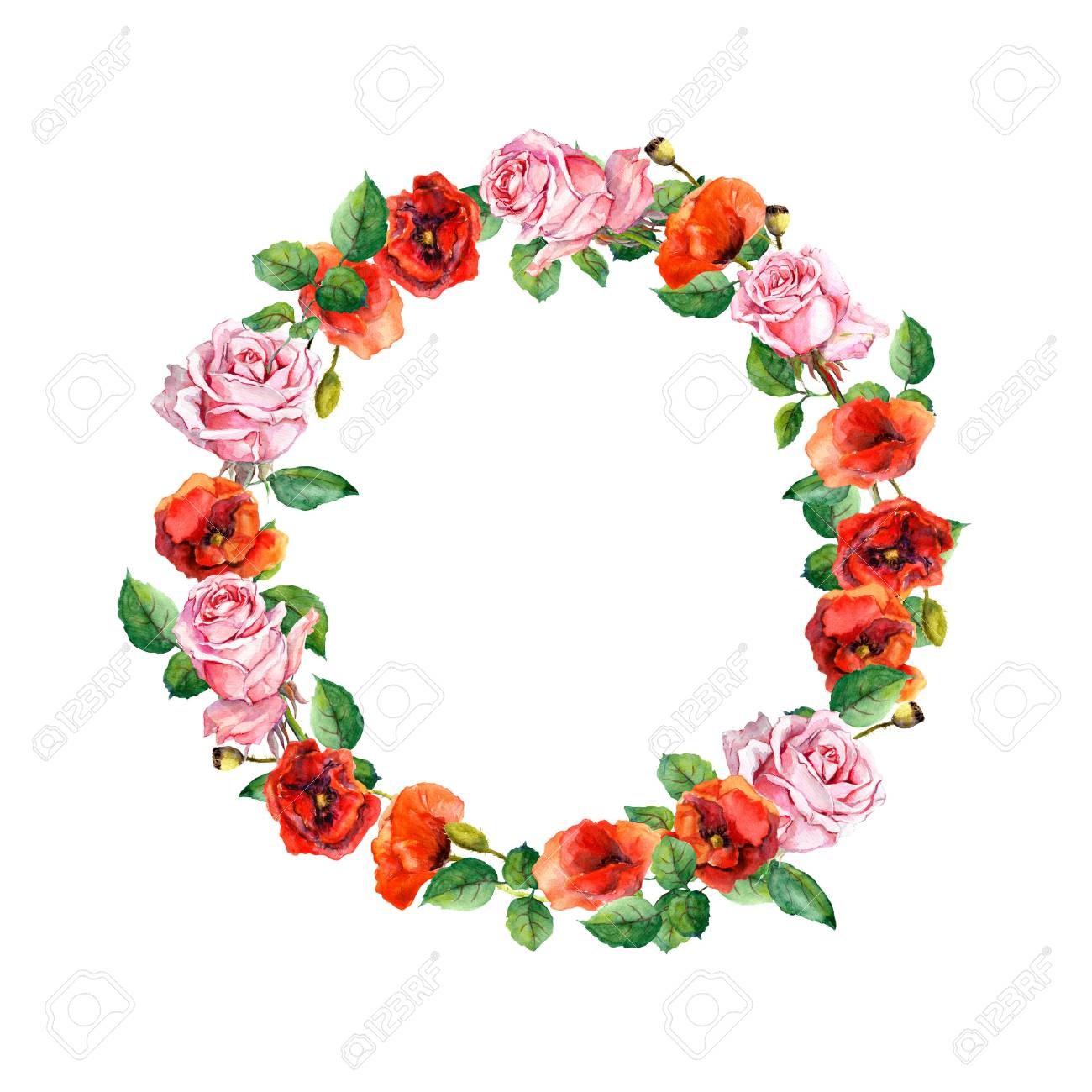 Rose And Poppy Flowers Floral Wreath For Wedding Card Or Valentine Day Watercolor Circle