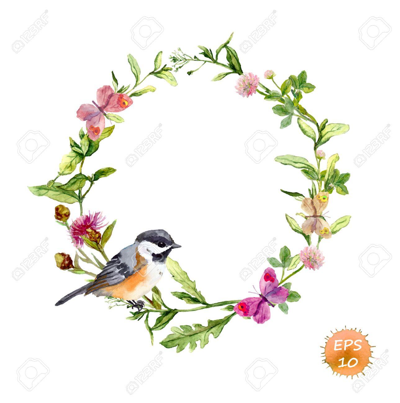 Kranz-Grenze Rahmen Mit Wildkräutern, Wiesenblumen, Schmetterlinge ...