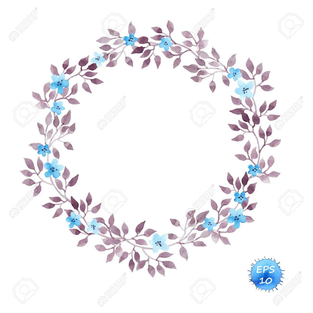 フローラル リース フレームかわいい花とインテリア デザインのための葉水彩ベクトル分離