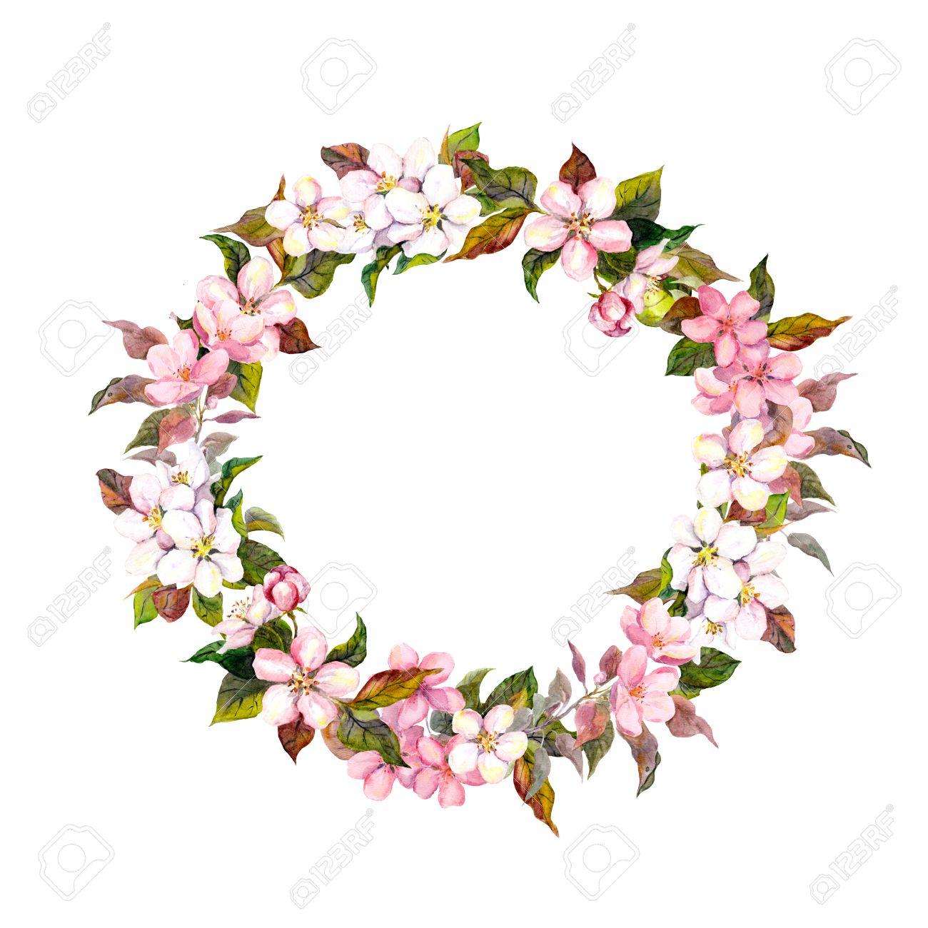 Seamless Floral Vorlage Mit Aquarell Gemalten Apfel Und Kirsche ...