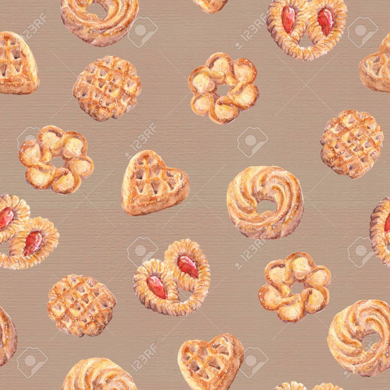 シームレスなクッキーの壁紙 ベーキングのフード デザインは 白い
