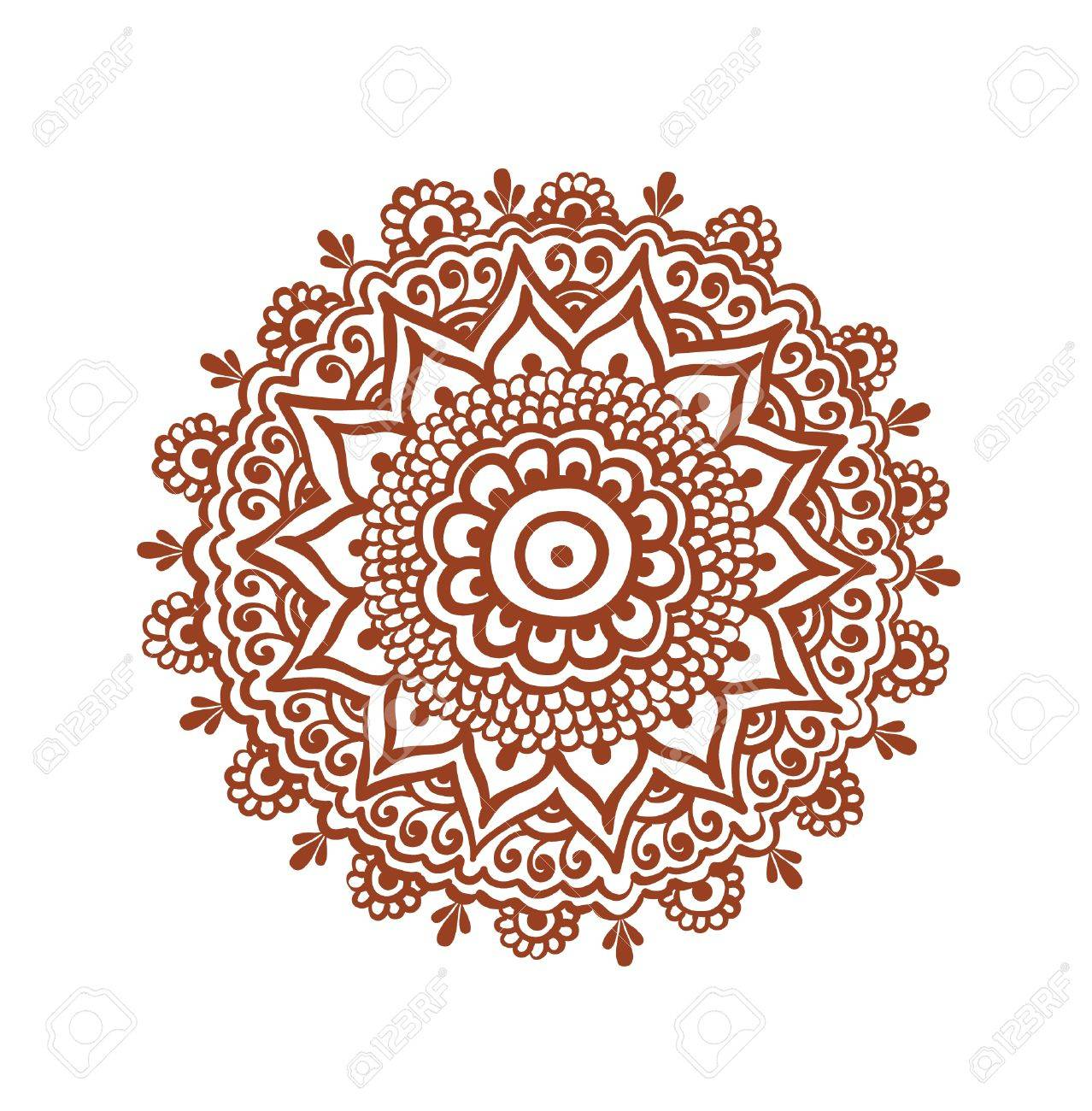 Ornate Circle Mandala Traditional Indian Tattoo Henna Design