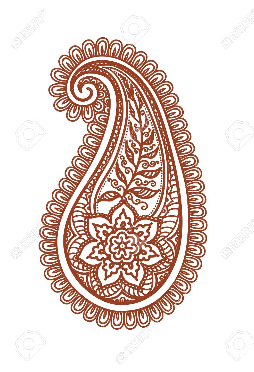 Ornate Paisley With Decorative Flower And Leaves Decorative