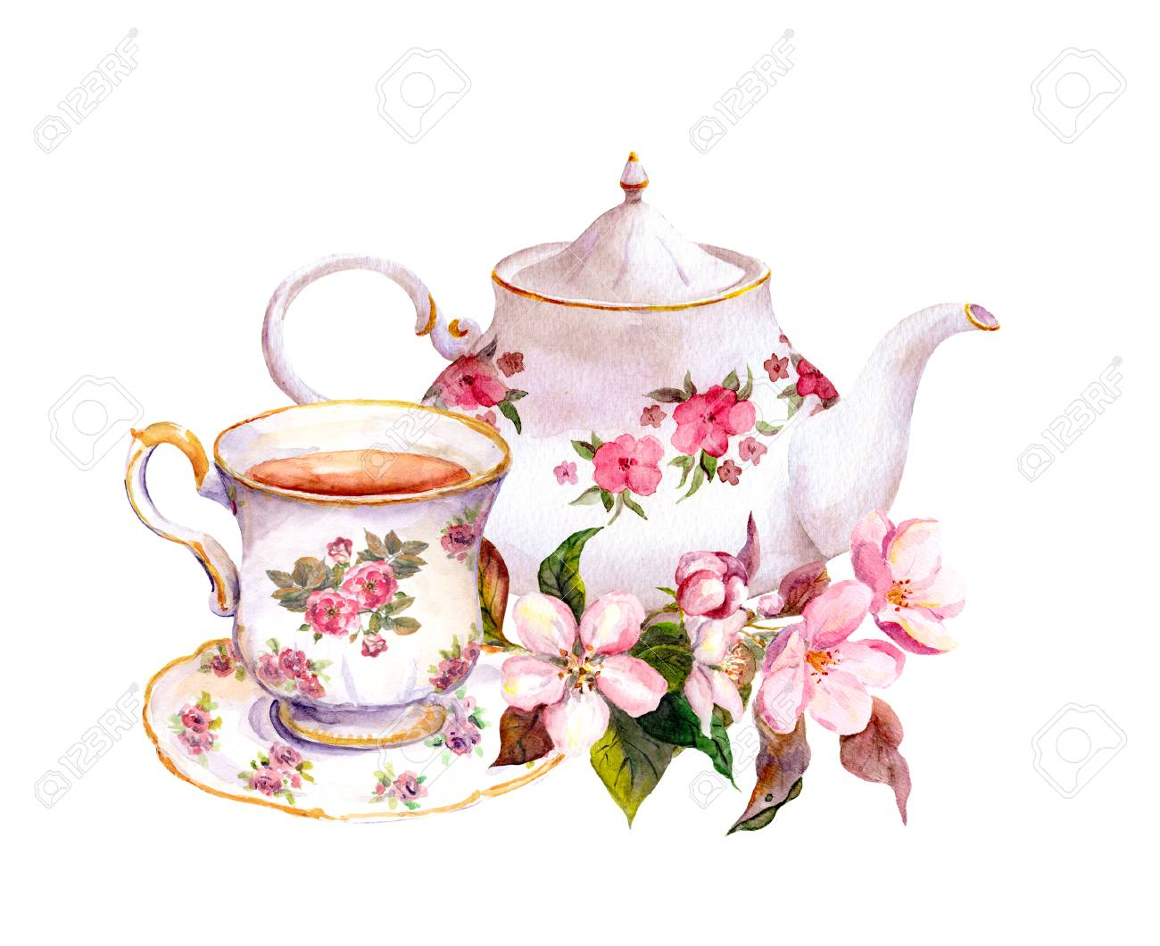 Tea Cup And Tea Pot With Flowers Vintage Watercolor Design Stock